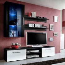 "Meuble TV Mural Design ""Galino V Black"" Blanc & Noir"