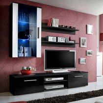 "Meuble TV Mural Design ""Galino V Black"" Noir & Blanc"