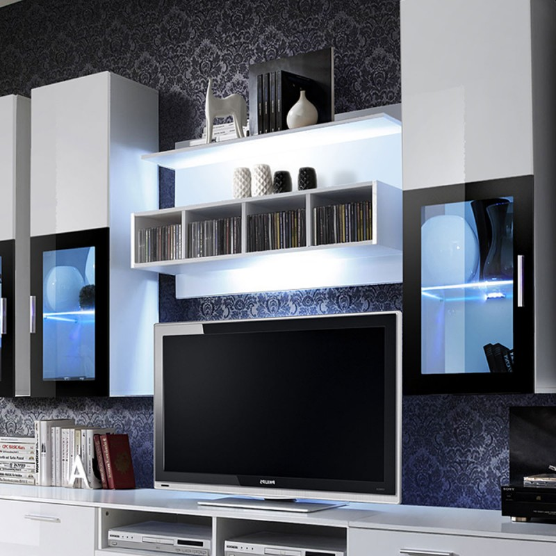 Meuble Tv Mural Design Lyra 300cm Blanc