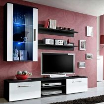 "Meuble TV Mural Design ""Galino V Black"" Blanc"