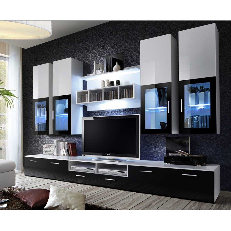 meuble tv mural design lyra 300cm noir blanc. Black Bedroom Furniture Sets. Home Design Ideas