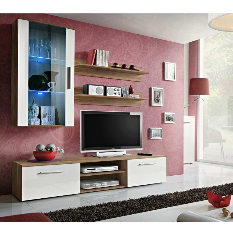 Meuble Tv Mural Design Galino V Wood Prunier Blanc