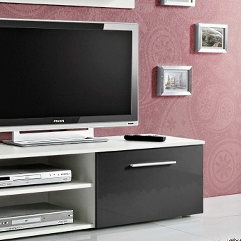 meuble tv mural design galino v white noir. Black Bedroom Furniture Sets. Home Design Ideas