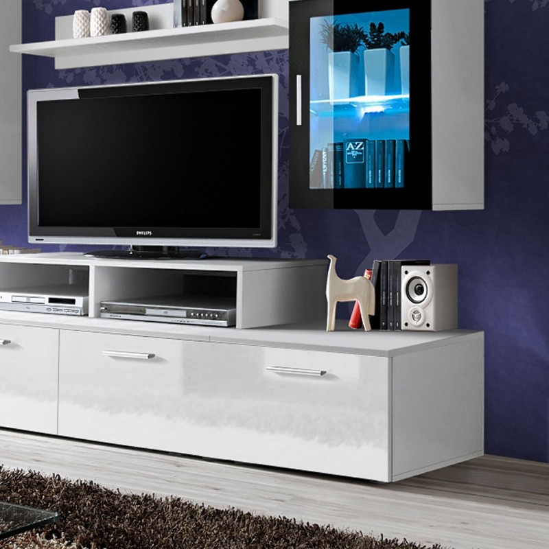 meuble tv mural design mini 200cm blanc. Black Bedroom Furniture Sets. Home Design Ideas