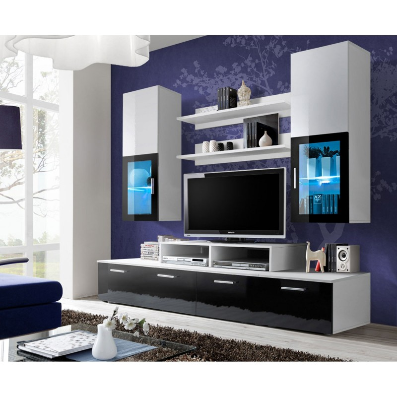 Meuble tv mural design mini 200cm noir blanc for Meuble mural original