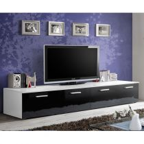 "Meuble TV Design ""Duo"" 200cm Noir & Blanc"