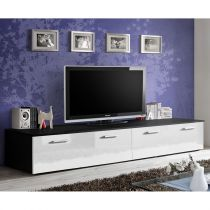 "Meuble TV Design ""Duo"" 200cm Blanc & Noir"