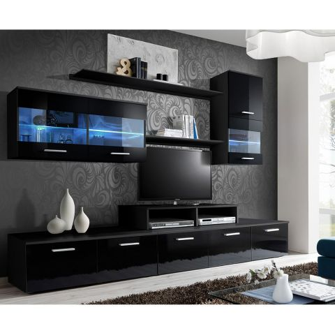 meuble tv mural design 39 logo 250cm noir. Black Bedroom Furniture Sets. Home Design Ideas