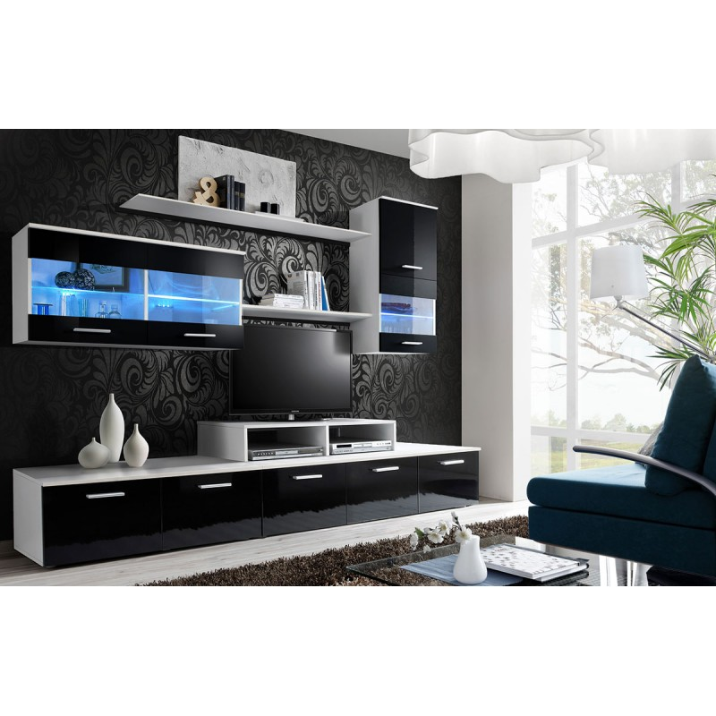 meuble tv mural design 39 logo 250cm noir blanc. Black Bedroom Furniture Sets. Home Design Ideas