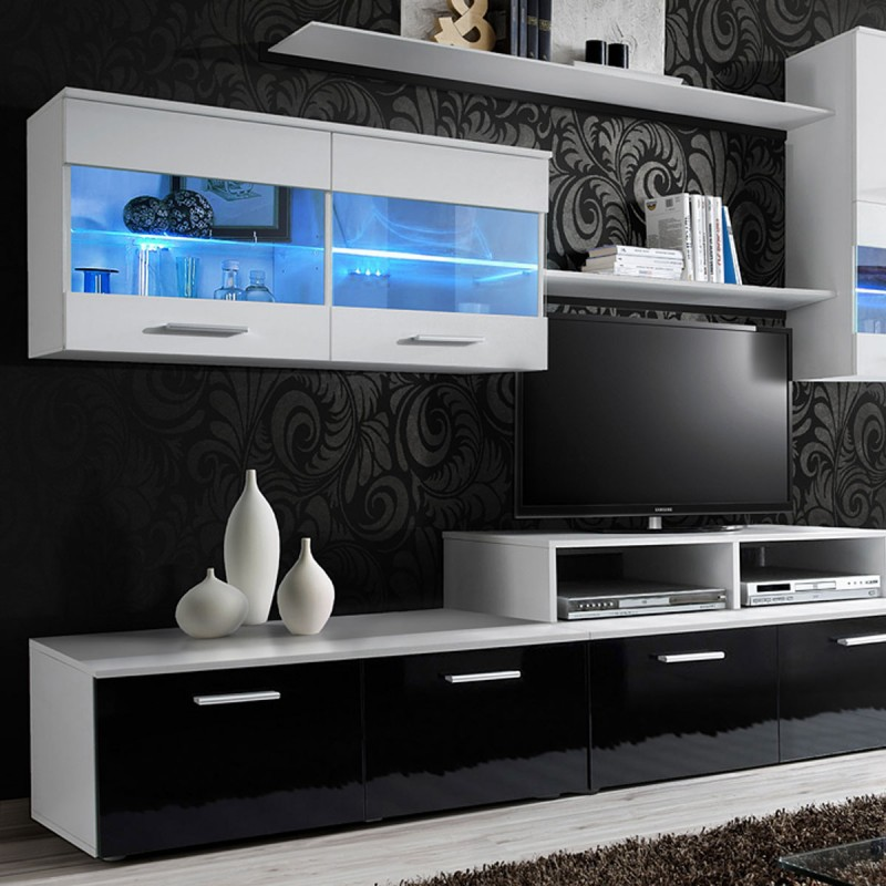 meuble tv mural design 39 logo 250cm blanc. Black Bedroom Furniture Sets. Home Design Ideas