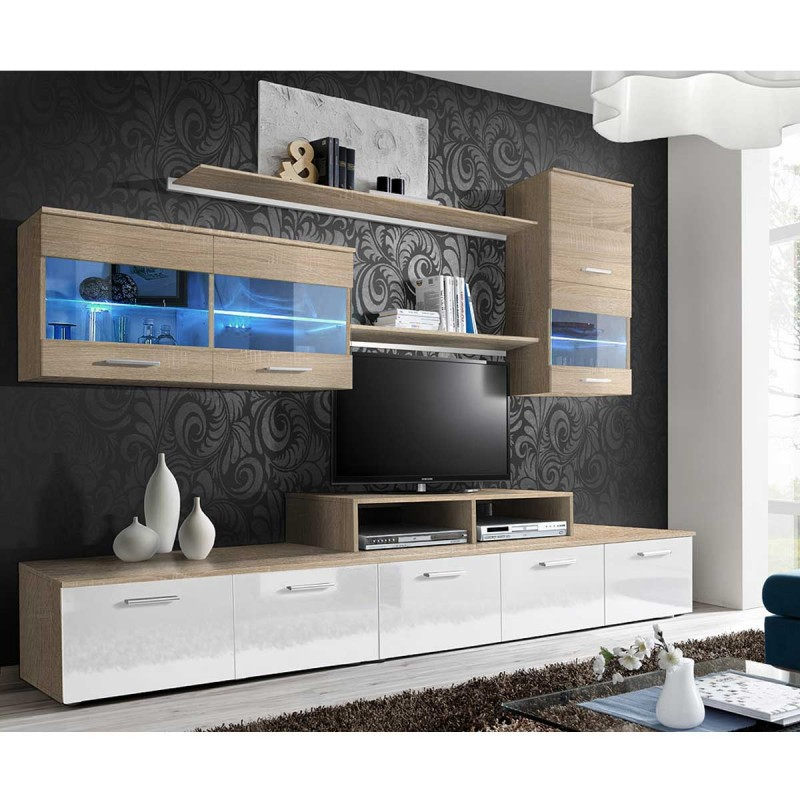 meuble tv mural design 39 logo 250cm blanc ch ne. Black Bedroom Furniture Sets. Home Design Ideas