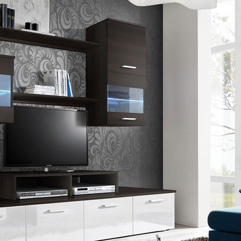 meuble tv mural design 39 logo 250cm weng blanc. Black Bedroom Furniture Sets. Home Design Ideas