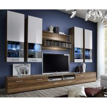 "Meuble TV Mural Design ""Dorade"" 300cm Brun & Blanc"
