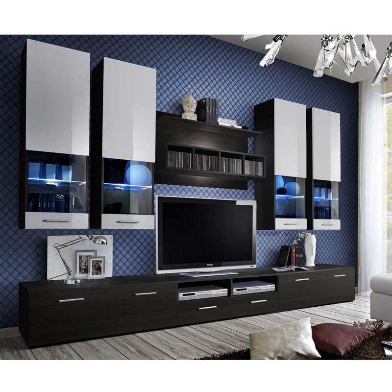 Meuble tv mural design dorade 300cm weng blanc for Meuble tv 300 cm