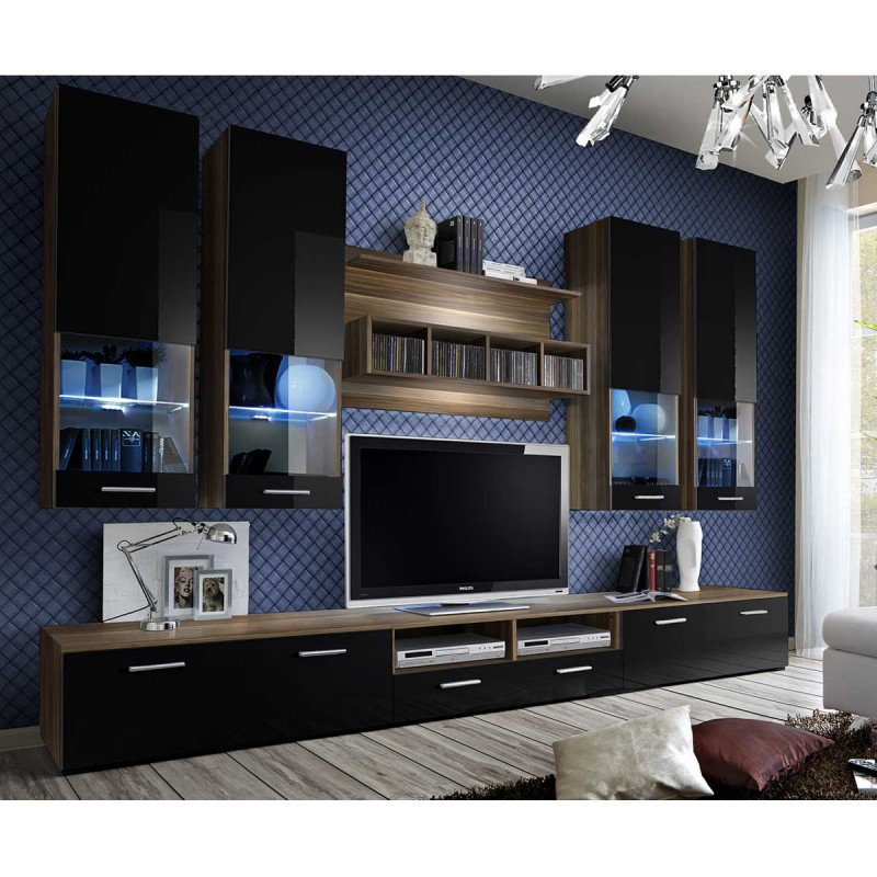 meuble tv mural design dorade 300cm prunier noir. Black Bedroom Furniture Sets. Home Design Ideas
