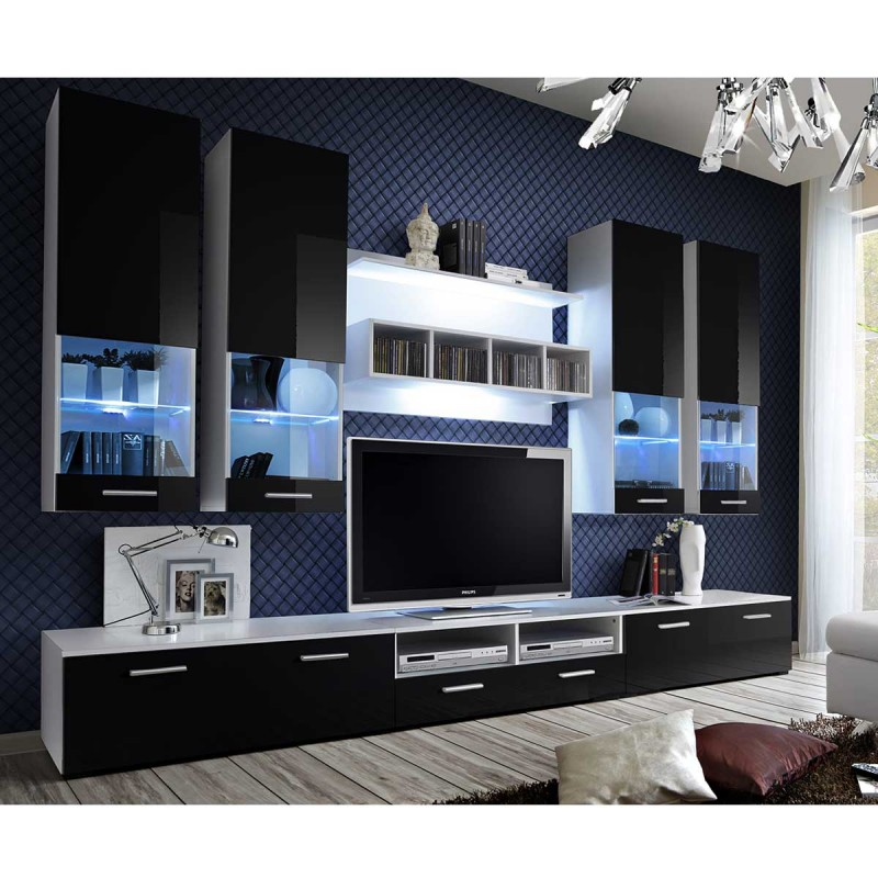 meuble mural noir cuisine cuisine noir et argent meuble tv mural design fly iv 310cm noir. Black Bedroom Furniture Sets. Home Design Ideas