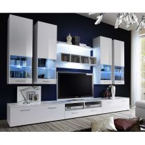 "Meuble TV Mural Design ""Dorade"" 300cm Blanc"