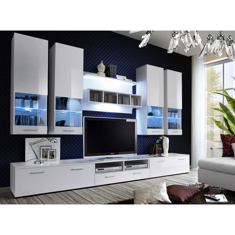 meuble tv mural design dorade 300cm blanc. Black Bedroom Furniture Sets. Home Design Ideas