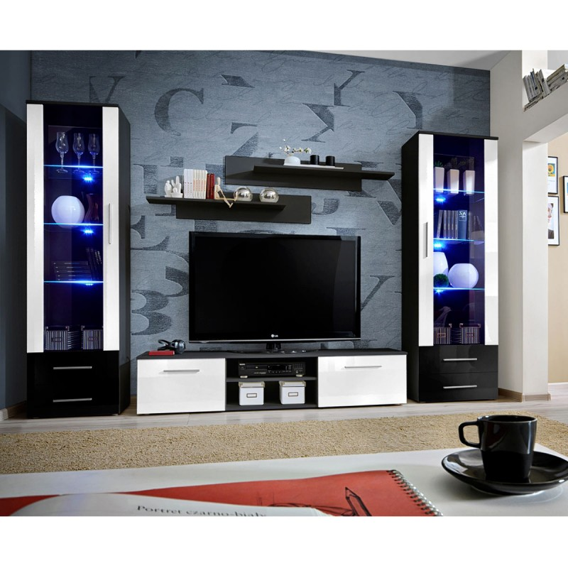 Ensemble meuble tv biblioth que galino iii black blanc for Meuble tele a led