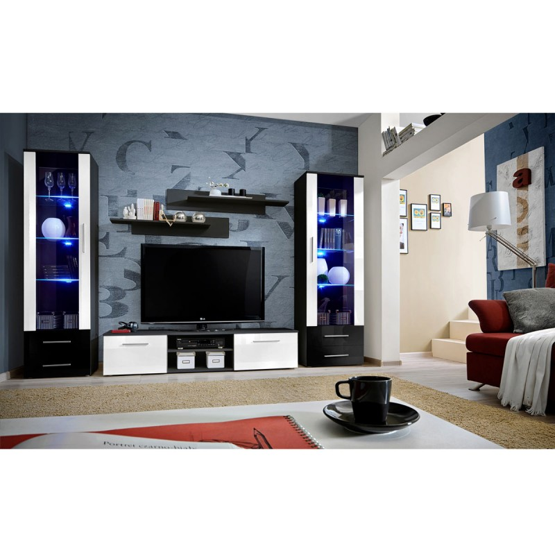 ensemble meuble tv biblioth que galino iii black blanc noir. Black Bedroom Furniture Sets. Home Design Ideas