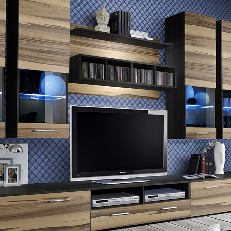 meuble tv mural design dorade 300cm noyer weng. Black Bedroom Furniture Sets. Home Design Ideas