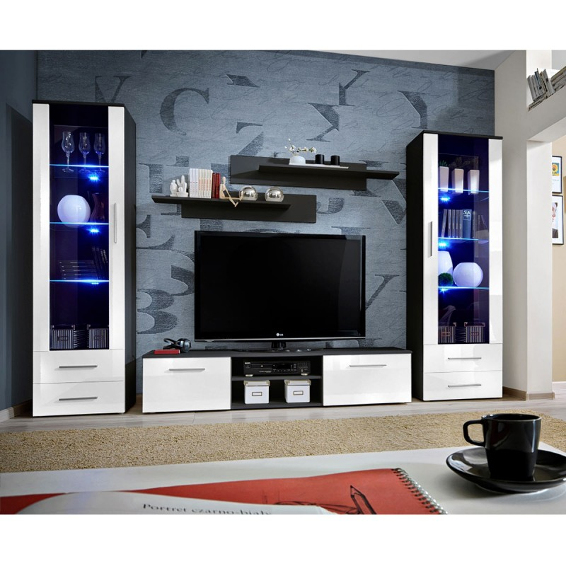 Ensemble meuble tv biblioth que galino iii black blanc for Bibliotheque meuble tv