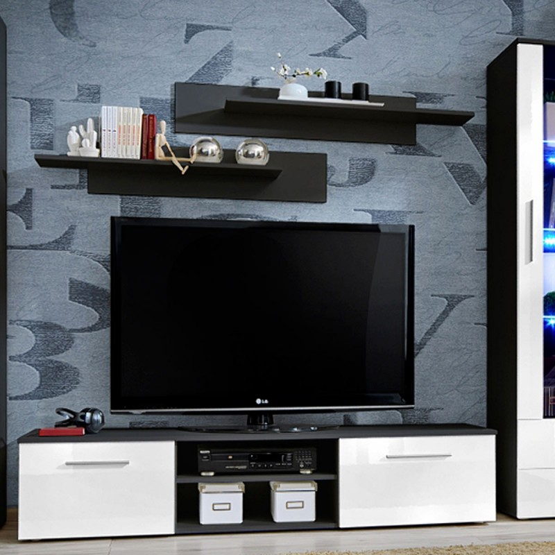 ensemble meuble tv biblioth que galino iii black blanc. Black Bedroom Furniture Sets. Home Design Ideas