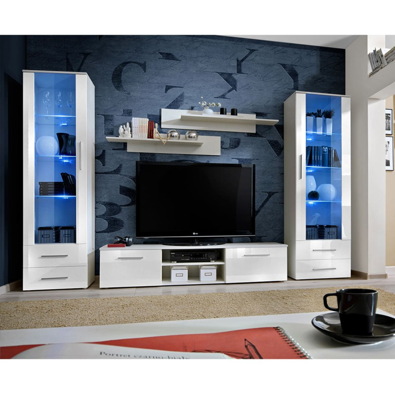 ensemble meuble tv biblioth que galino iii white blanc. Black Bedroom Furniture Sets. Home Design Ideas