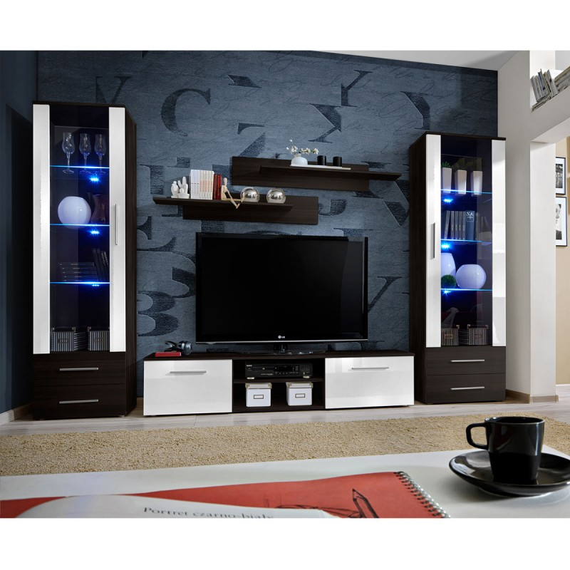 ensemble meuble tv biblioth que galino iii coffee blanc weng. Black Bedroom Furniture Sets. Home Design Ideas