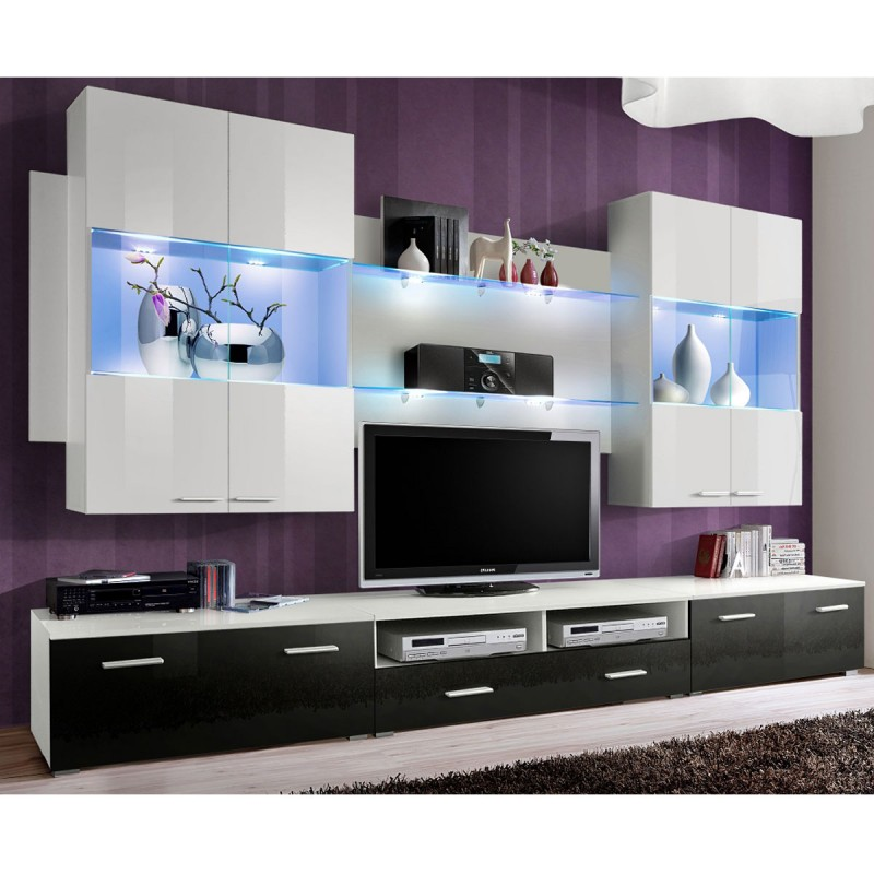 Meuble tv mural design space 300cm noir blanc for Meuble tv mural design