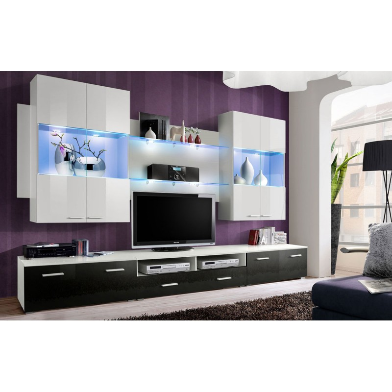 Meuble tv mural design space 300cm noir blanc for Meuble tv design noir
