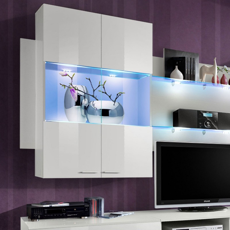 Meuble tv mural design space 300cm blanc for Meuble tv mural design