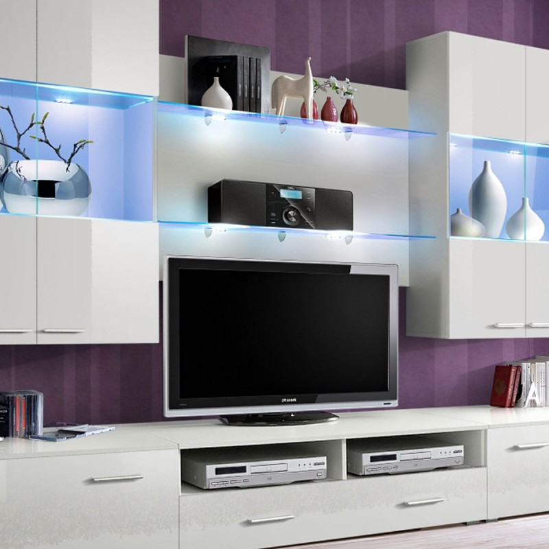 Meuble tv mural design space 300cm blanc for Meuble tv 300 cm