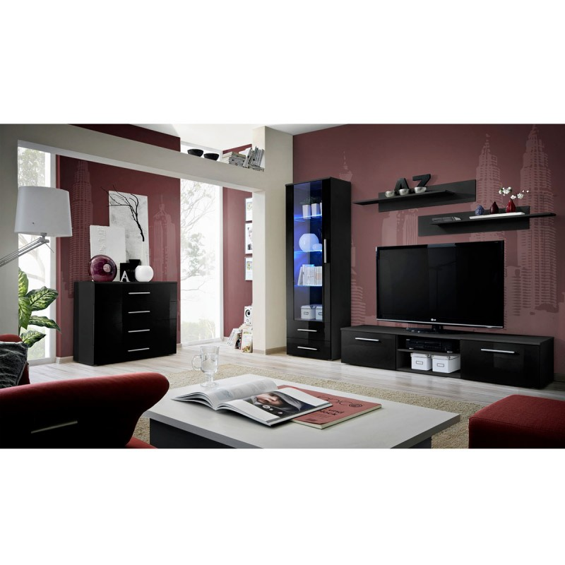 Ensemble tv mural 4 l ments galino ii black noir for Element mural tv
