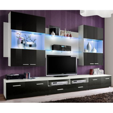 meuble tv mural design space 300cm noir. Black Bedroom Furniture Sets. Home Design Ideas