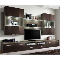 "Meuble TV Mural Design ""Space"" 300cm Marron"