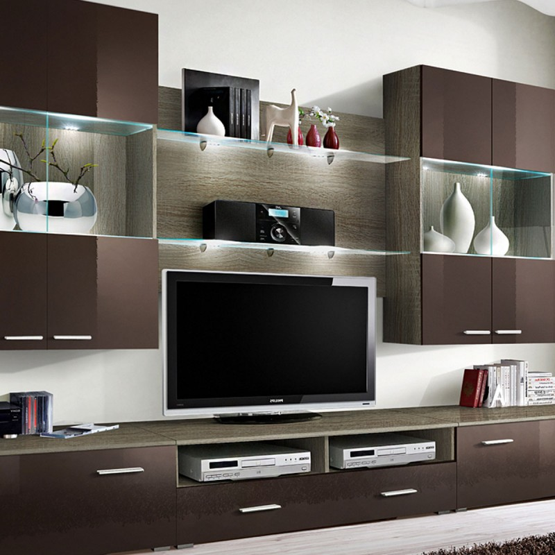 meuble tv mural design space 300cm marron. Black Bedroom Furniture Sets. Home Design Ideas