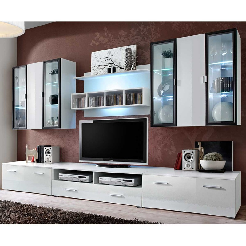 meuble tv mural design quadro 300cm blanc