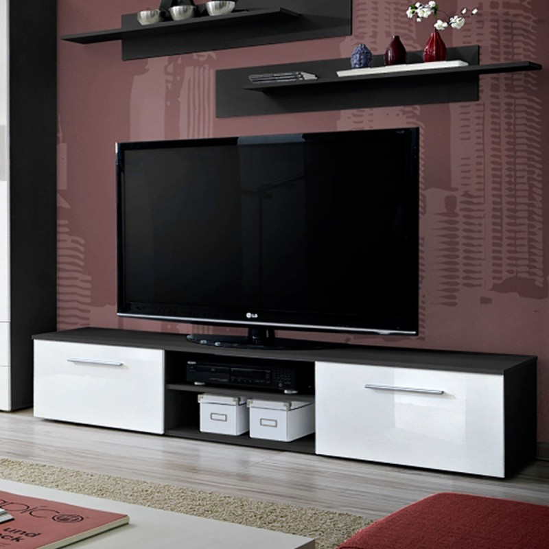 Ensemble tv mural 4 l ments galino ii black blanc for Element mural tv