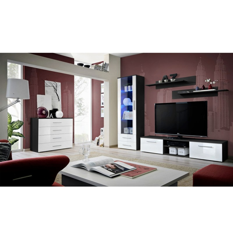 ensemble tv mural 4 l ments galino ii black blanc. Black Bedroom Furniture Sets. Home Design Ideas