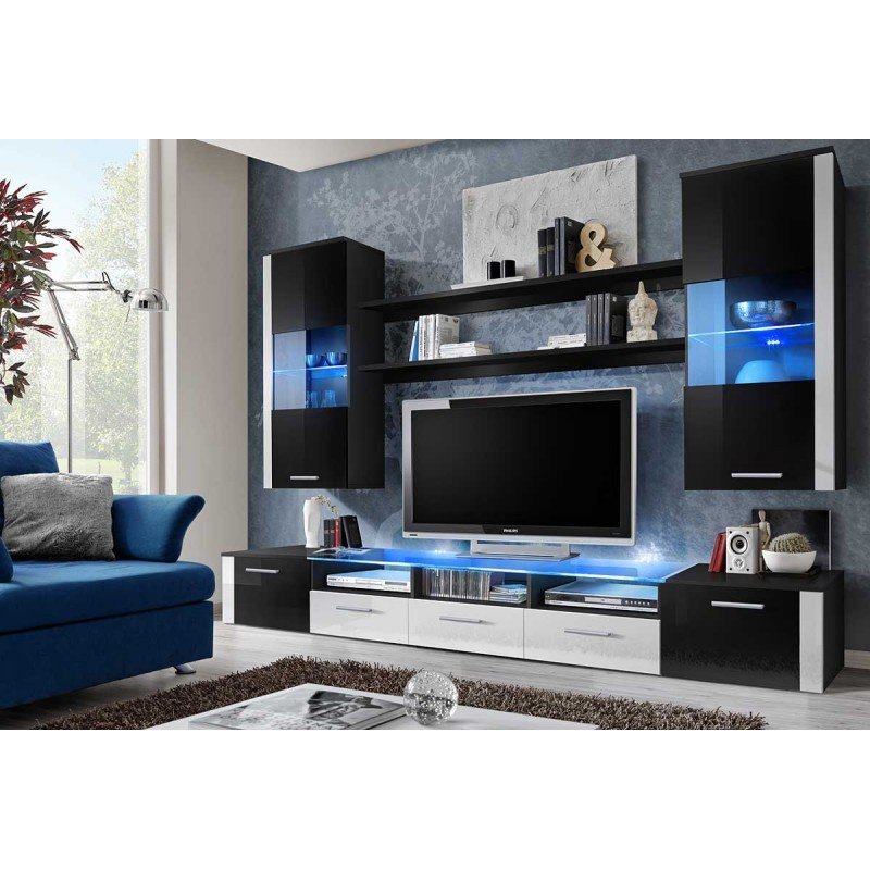 meuble tv mural design fresh 250cm noir blanc. Black Bedroom Furniture Sets. Home Design Ideas