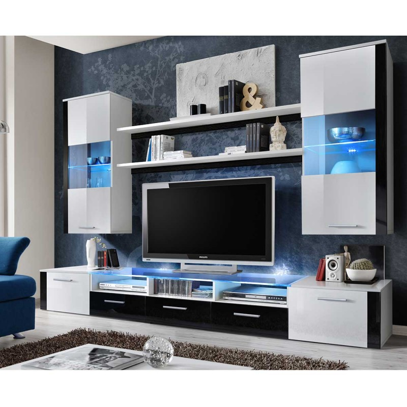 meuble tv mural design fresh 250cm blanc noir. Black Bedroom Furniture Sets. Home Design Ideas