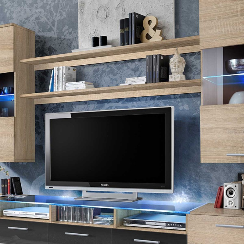 meuble tv mural design fresh 250cm ch ne graphite. Black Bedroom Furniture Sets. Home Design Ideas