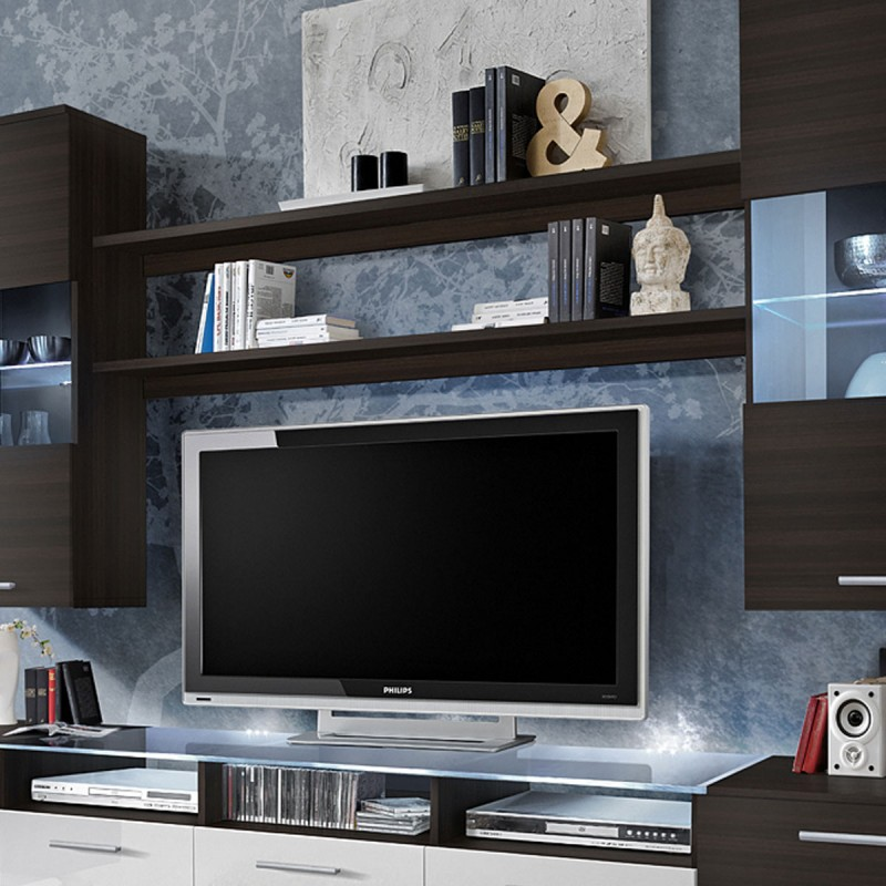 meuble tv mural design fresh 250cm weng blanc. Black Bedroom Furniture Sets. Home Design Ideas