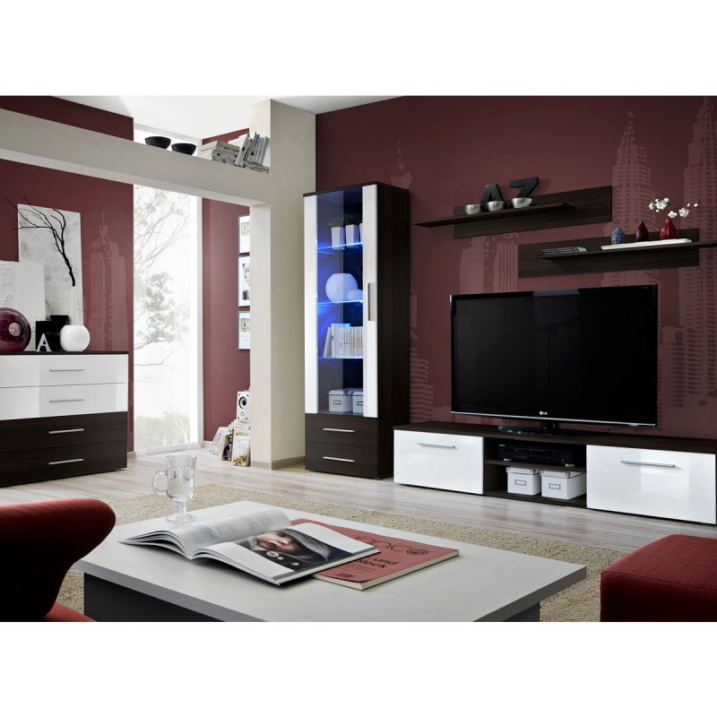 Ensemble tv mural 4 l ments galino ii coffee weng blanc for Element mural pour tv