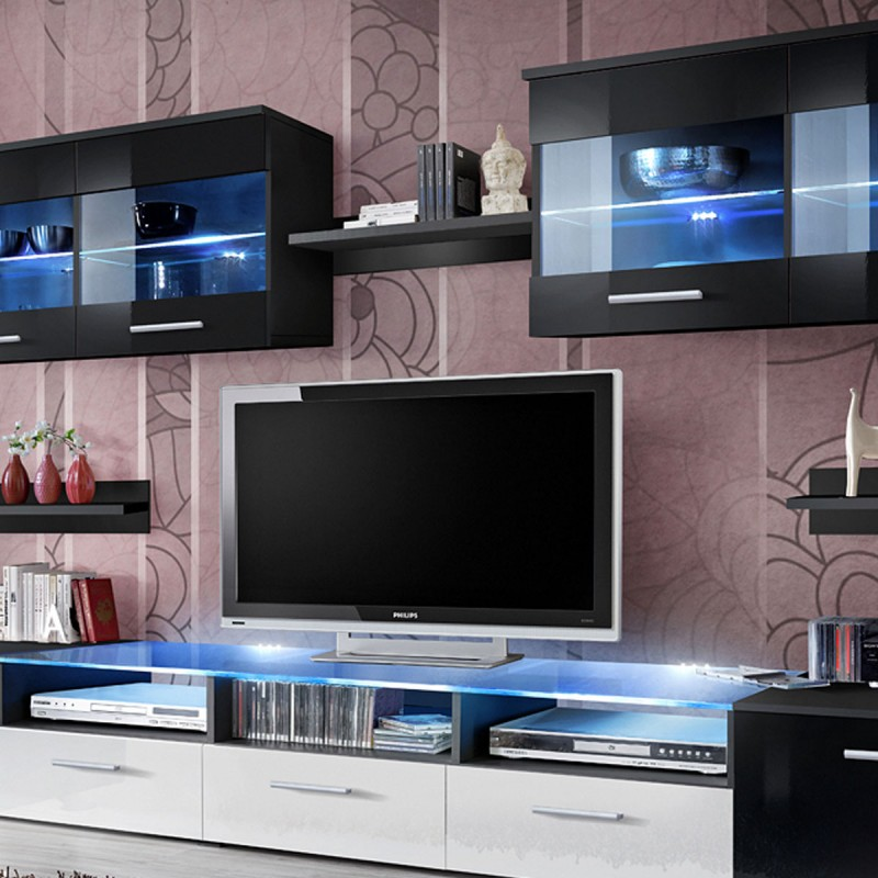 meuble tv mural design zoom 250cm noir blanc. Black Bedroom Furniture Sets. Home Design Ideas