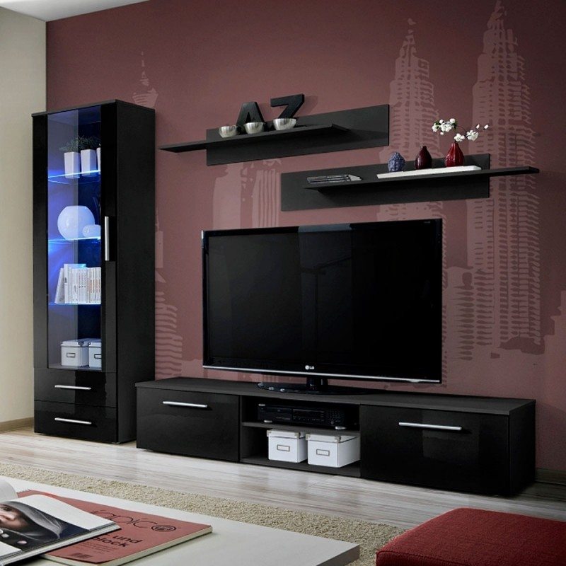 ensemble meuble tv biblioth que galino i black noir. Black Bedroom Furniture Sets. Home Design Ideas