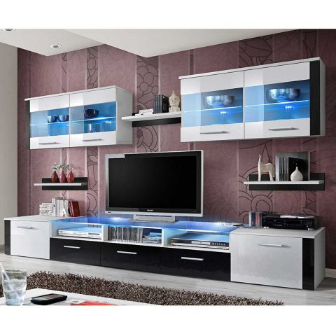meuble tv mural design zoom 250cm blanc noir. Black Bedroom Furniture Sets. Home Design Ideas