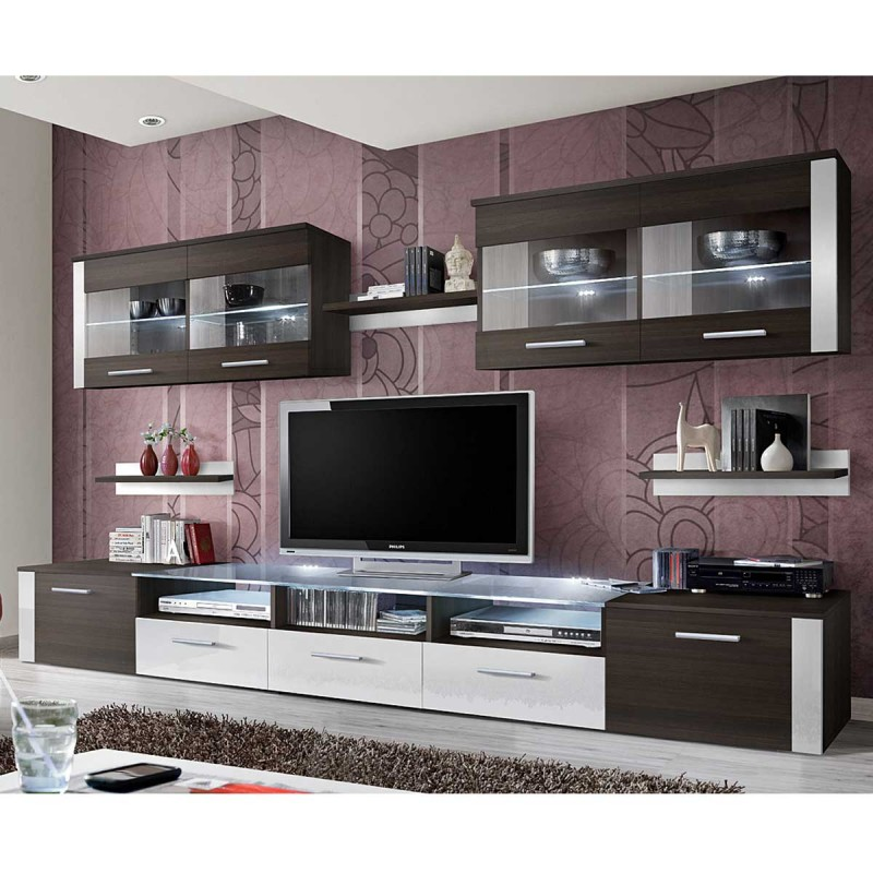 meuble tv mural design zoom 250cm weng blanc. Black Bedroom Furniture Sets. Home Design Ideas