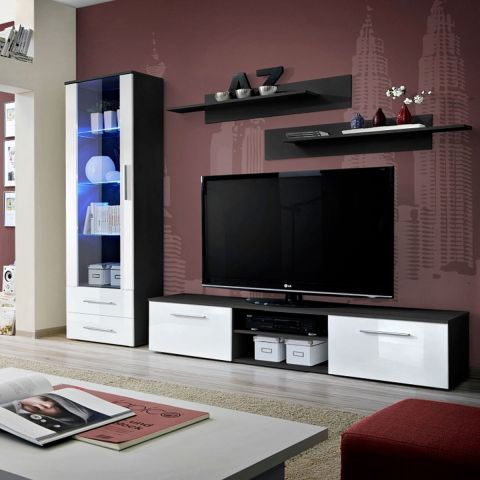ensemble meuble tv biblioth que galino i black blanc. Black Bedroom Furniture Sets. Home Design Ideas